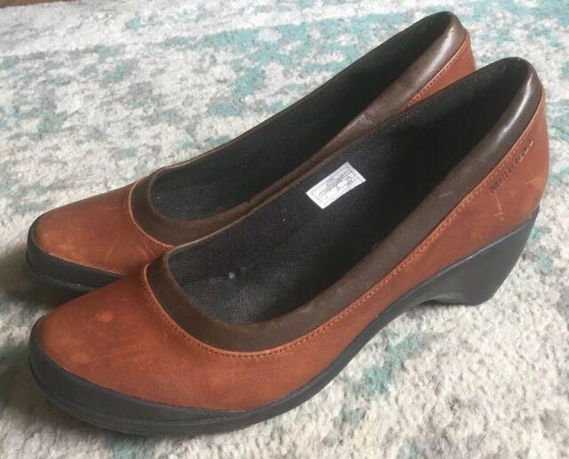 "Merrell Women's ""Veranda"" Brown Leather Wedge Heel Pump Slip On Shoes Size 7 EUC"