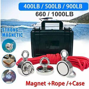 Fishing Magnet Kit Strong Neodymium Round Thick Eyebolt & Rope Treasure Hunt USA