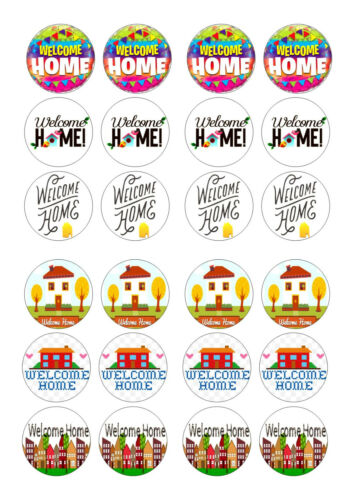 24 WELCOME HOME Cupcake plaquette Riz Comestibles Fairy Cake Toppers