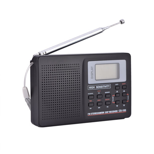 Portable Digital World Full Band Radio Receiver AM//FM//SW//MW//LW Radio Alarm Clock
