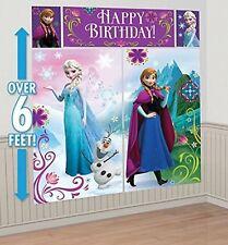 FROZEN SCENE SETTER Happy Birthday Backdrop Party Wall Decoration Kit ANNA ELSA