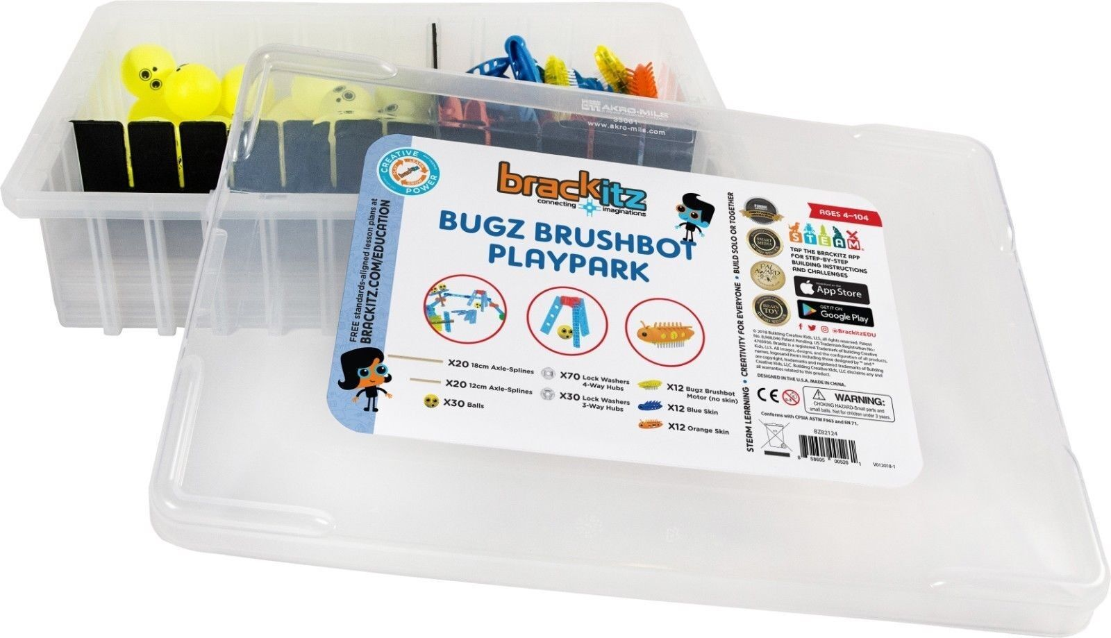 206 pc Structures Bugz Brushbot STEM Learning Toys Kids Extension Set