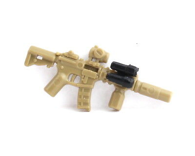 W293 Assault Rifle compatible with toy brick minifig Army M4 Dark Tan MK18 MAWL