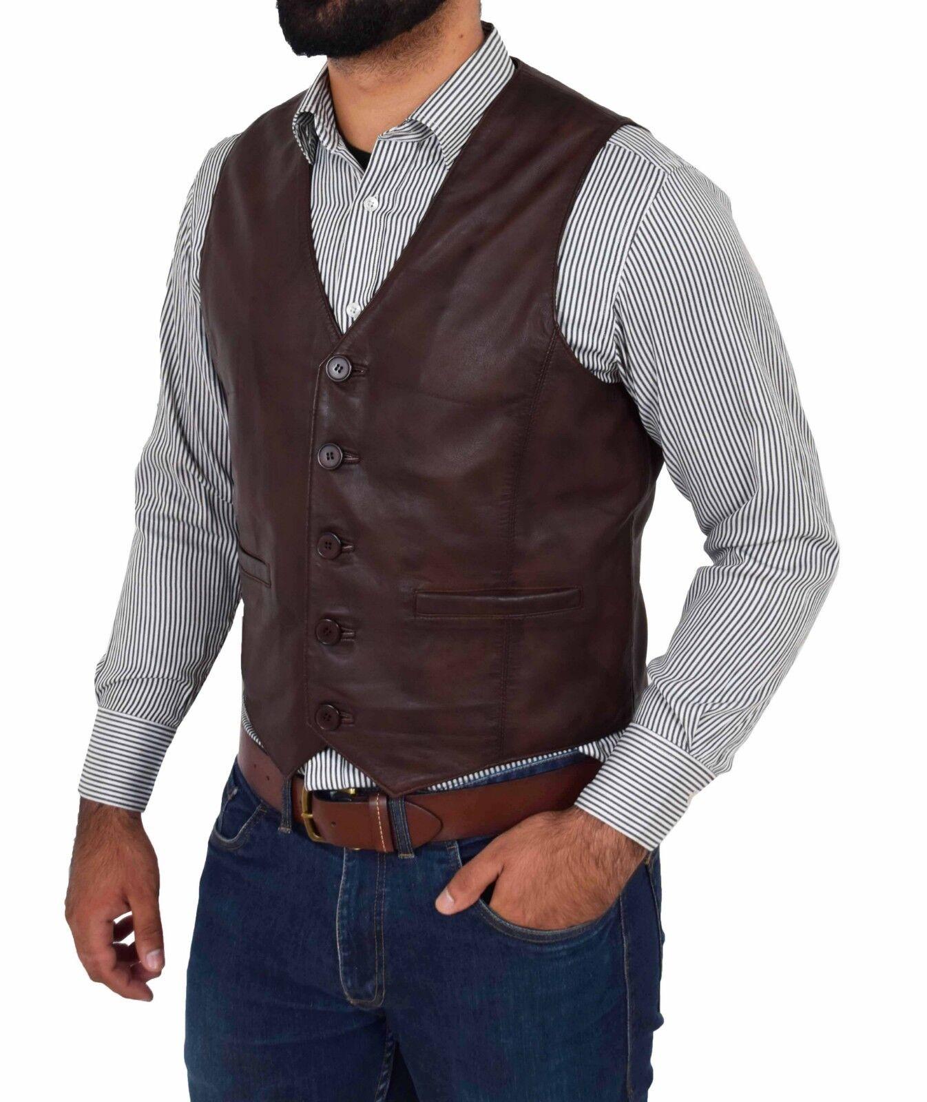 Mens Full Leather Waistcoat Brown Traditional Smart Gilet Short Sleeveless Vest