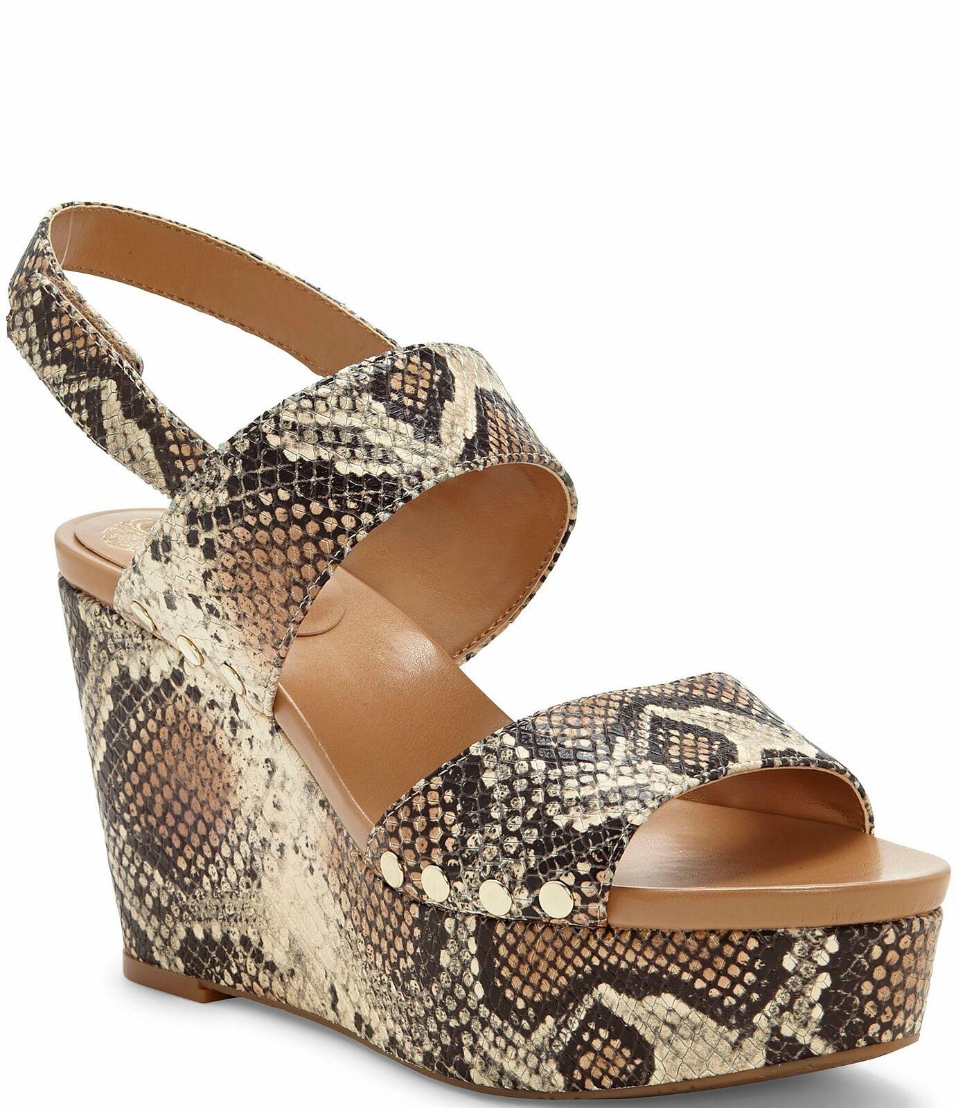 Vince Camuto Ventinda Snake Leather Platform 2 piece Wedge Sandals 9.5 NEW
