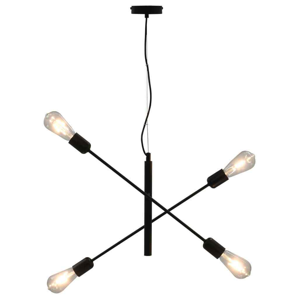 vidaXL Lámpara Techo Vintage Industrial Retro 4 Bombillas Giratorias Negro Luz