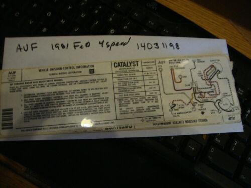 Corvette NOS  Emissions smog  Sticker 350 1981 FED 14031198/& EMISSION ROUTING