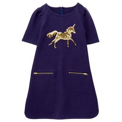 Gymboree Unicorn University 4 6 8  Navy Horse Dress Sequin
