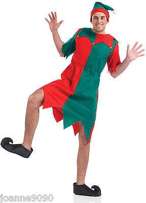 HOMBRE MUJER Elfo Ayudante de Santa Casa Disfraz Túnica Con Sombrero & Zapatos