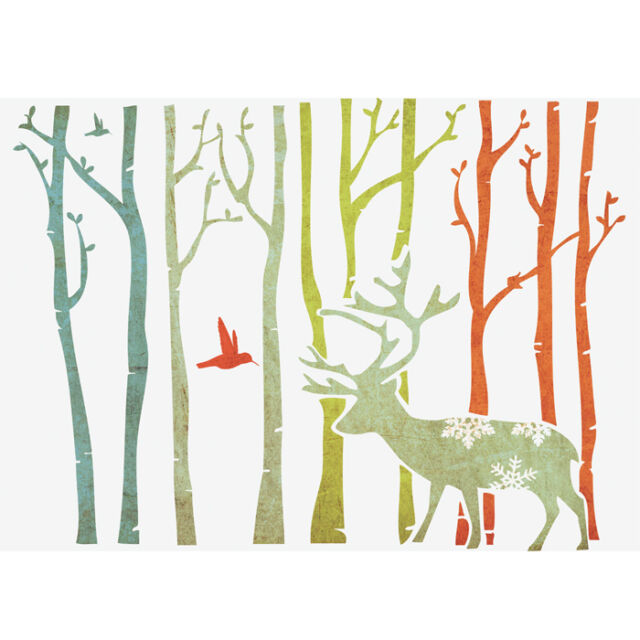 """Wall STENCILS FOR DIY DECOR ROOMS KIDS TEMPLATE Deer in forest 16.53"""" X 11.69"""""""