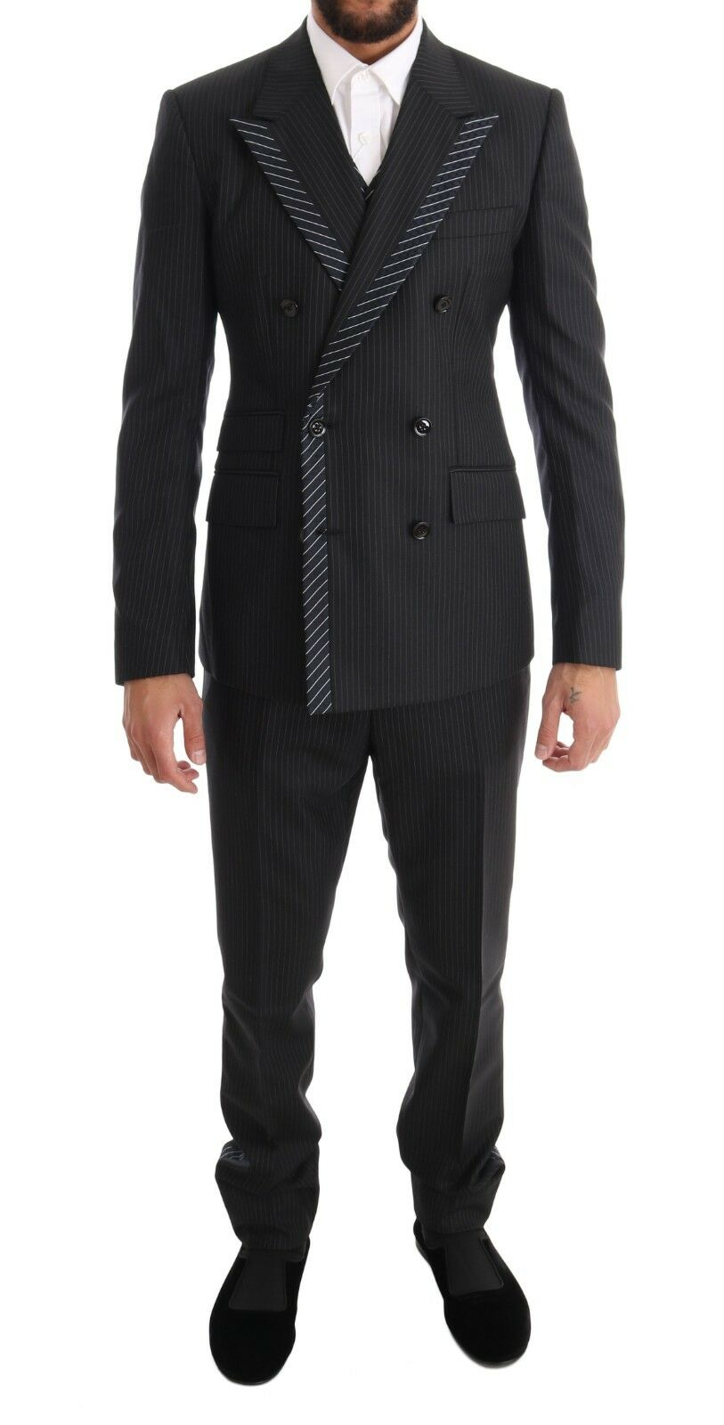 NEW 3000 DOLCE & GABBANA Suit Tuxedo grau Double Breasted 3 Piece EU48 /US38/ M