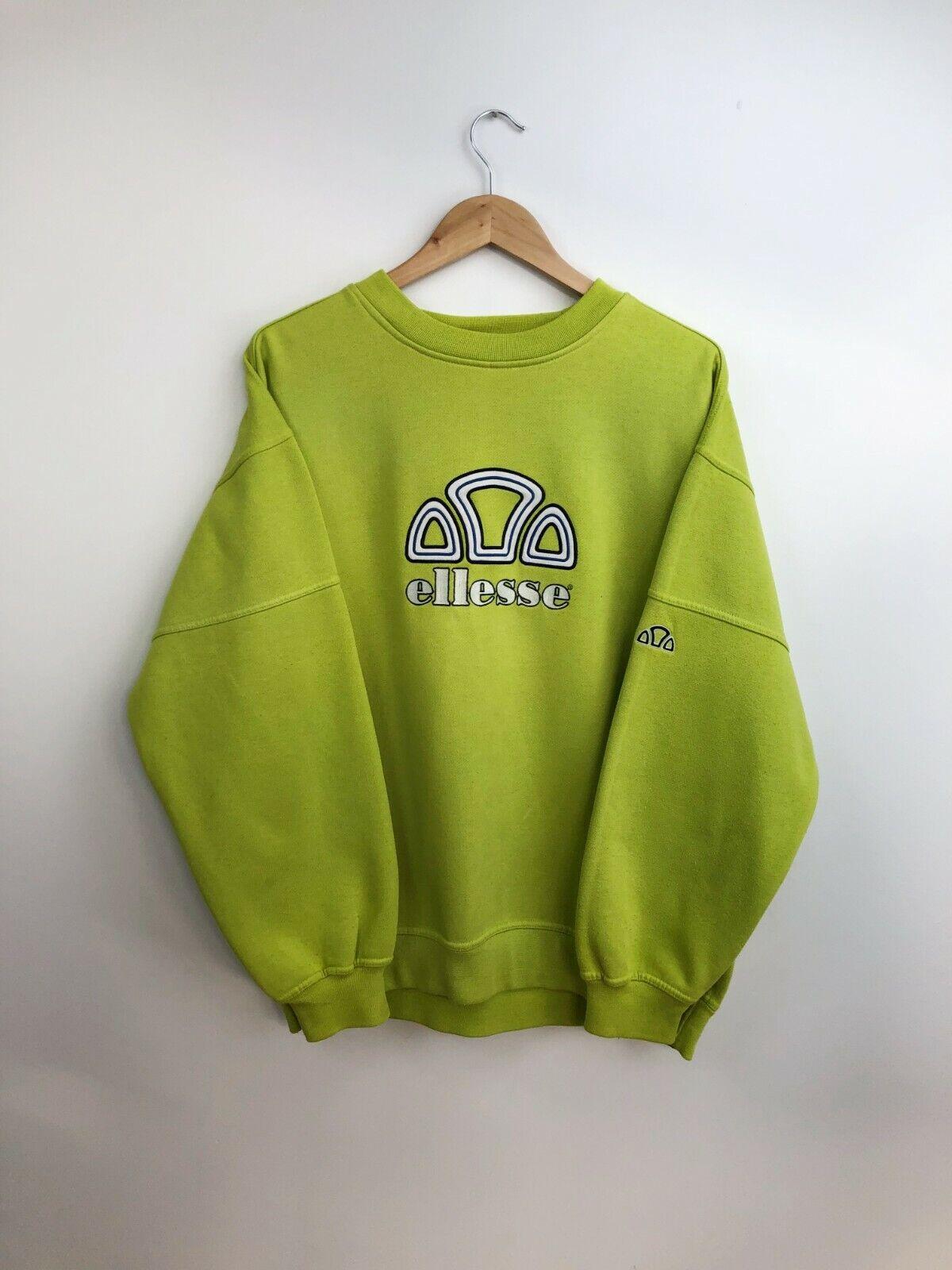 Vintage 90s Ellesse Crew Neck Embroidered Logo Sweatshirt Green Mens M - L