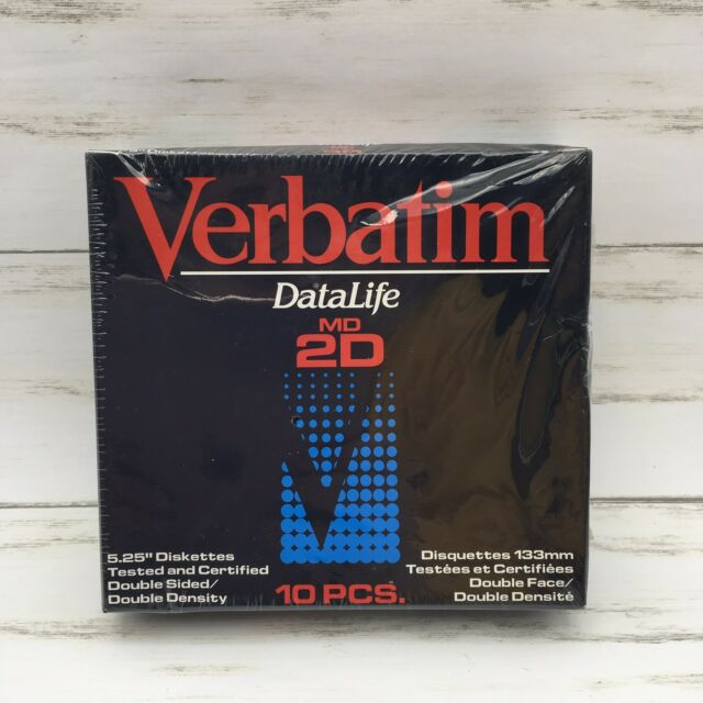 """Verbatim DataLife MD 2D 5.25"""" Diskettes Double Sided Double Density Box 10"""
