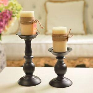 Metal-Carved-Church-Pillar-Candle-Holder-Wedding-Home-Decor-Black-Candlestick