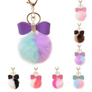 Gold-PomPom-Car-Artificial-Keyring-Fur-Ball-Faux-Rabbit-Keychain-Bag-Charm