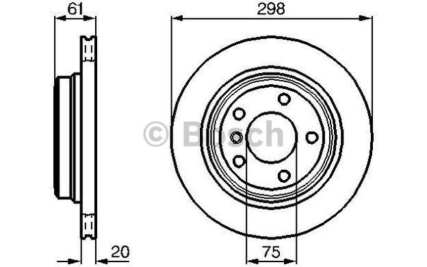 BOSCH Juego de 2 discos freno Trasero 298mm ventilado BMW Serie 5 0 986 478 426