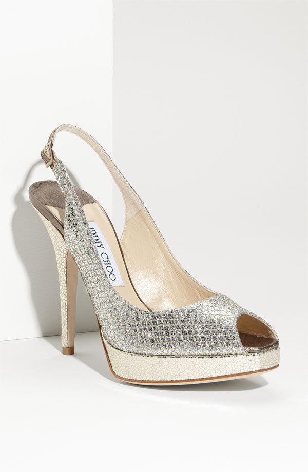Usado en excelente estado Jimmy Choo pista plata plata plata Glitter Charol Sandalia De Plataforma Zapato bomba  en stock