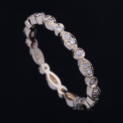 Milgrain Diamond Eternal Band Engagement /& Wedding Ring Solid 14K Yellow Gold