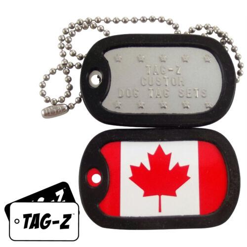 Custom Embossed Flag Tag Set CANADIAN FLAG w// Silencers Military Dog Tags