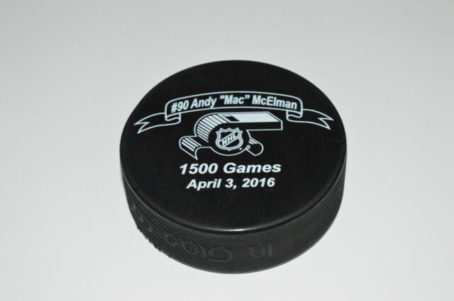 ANDY McELMAN NHL Referee Commemorative Hockey Puck 1500th NHL Game Retirement