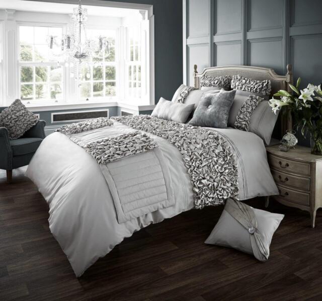 Luxury Duvet Cover Set Double Super King Size Bedding Black Silver