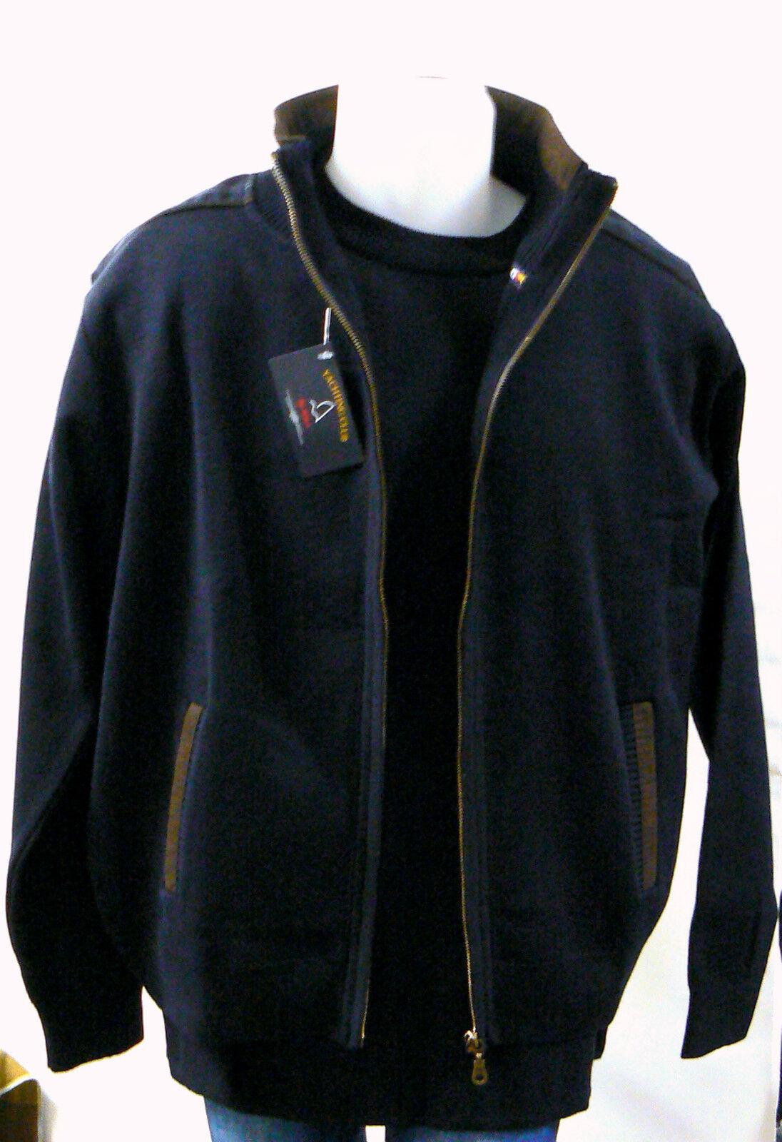 Gilet Blouson Bleu zippé by Win's maille serrée laine mérinos veste homme