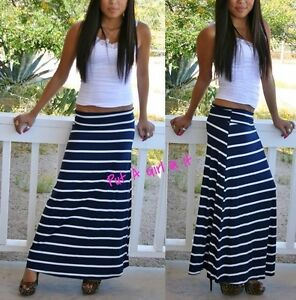 FOLD OVER WAIST NAVY BLUE WHITE LONG STRIPED MAXI KNIT SKIRT ...