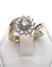NEW FLORAL DESIGN 1CT GENUINE CHAMPAIGNE AND WHITE DIAMOND RING 14KT YELLOW GOLD