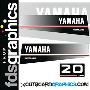 Details about Yamaha 20hp autolube outboard engine decals/sticker kit