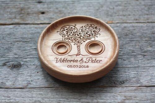 Personalized Wedding ring pillow alternative Wood Wedding ring holder bearer
