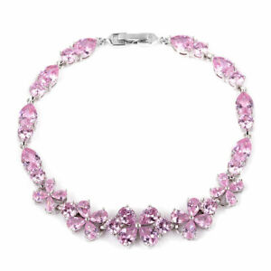 Silvertone-Pink-Cubic-Zircon-Flower-Bracelet-Jewelry-for-Women-Size-7-25-039-039-Ct-35