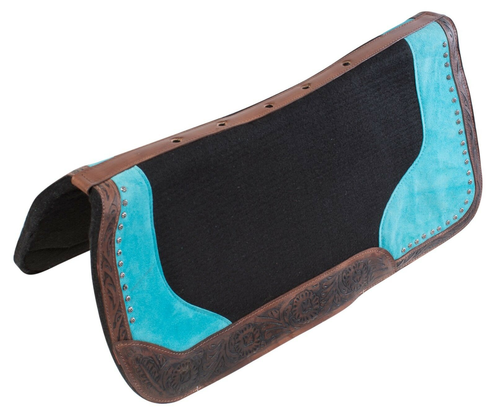 NEW TURQUOISE BARREL RACER WESTERN PLEASURE NON SLIP HORSE SADDLE PAD BLANKET