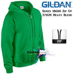 Gildan-Irish-Green-Zip-Up-Hoodie-Basic-Hooded-Sweatshirt-Sweater-Fleece