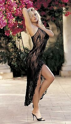 Lace Long Gown Spaghetti Straps Black or Red One Size Shirley of Hollywood 90045