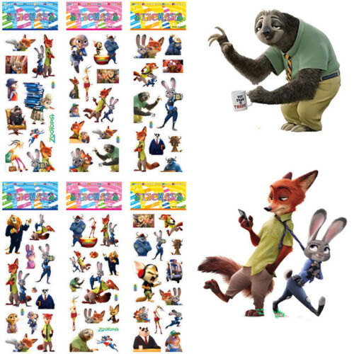 10 x ZOOTOPIA Sticker strips,Party Bag Fillers Birthday party favours games