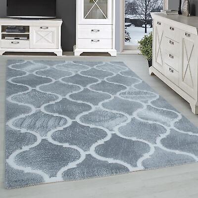 Tapis Design Moderne Salon Géométrique Fluide Motif Gris Blanc | eBay