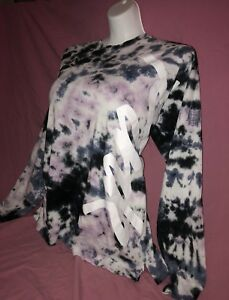 0a7acf9987e41 Details about Victoria's Secret Pink Campus Long Sleeve Tee Shirt Tie Dye  Gray Graphic S NWT