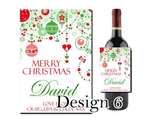 Personalised Christmas Wine Bottle Label Work Teacher Xmas Friend Nan Grandad
