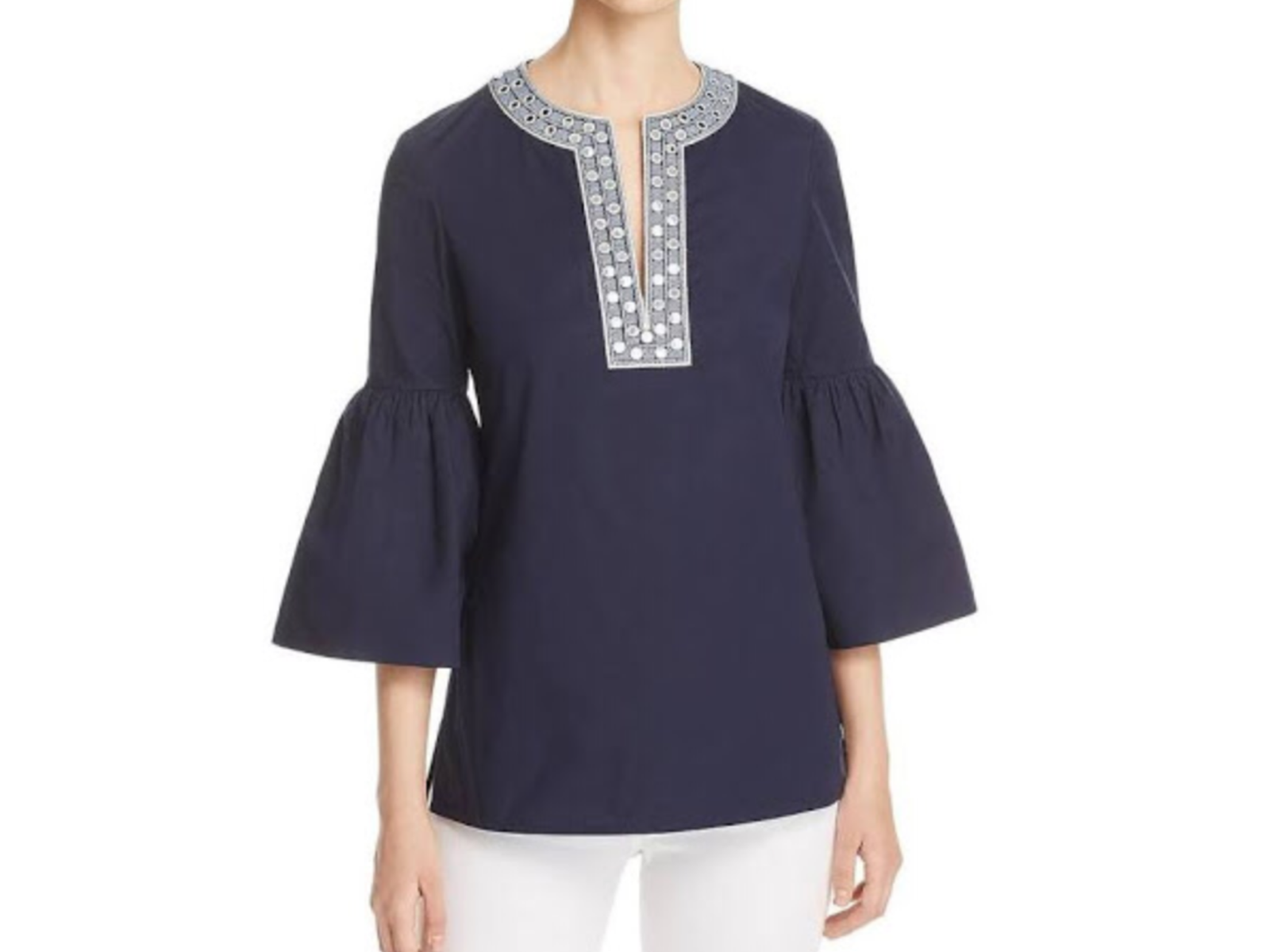 Tory Burch ARIANA Bell Sleeve Embroiderot Tunic in Navy, NWT, orig 298 sz.6