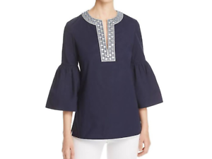 Tory Burch ARIANA Bell Sleeve Embroiderot Tunic in Navy, NWT, orig sz.6