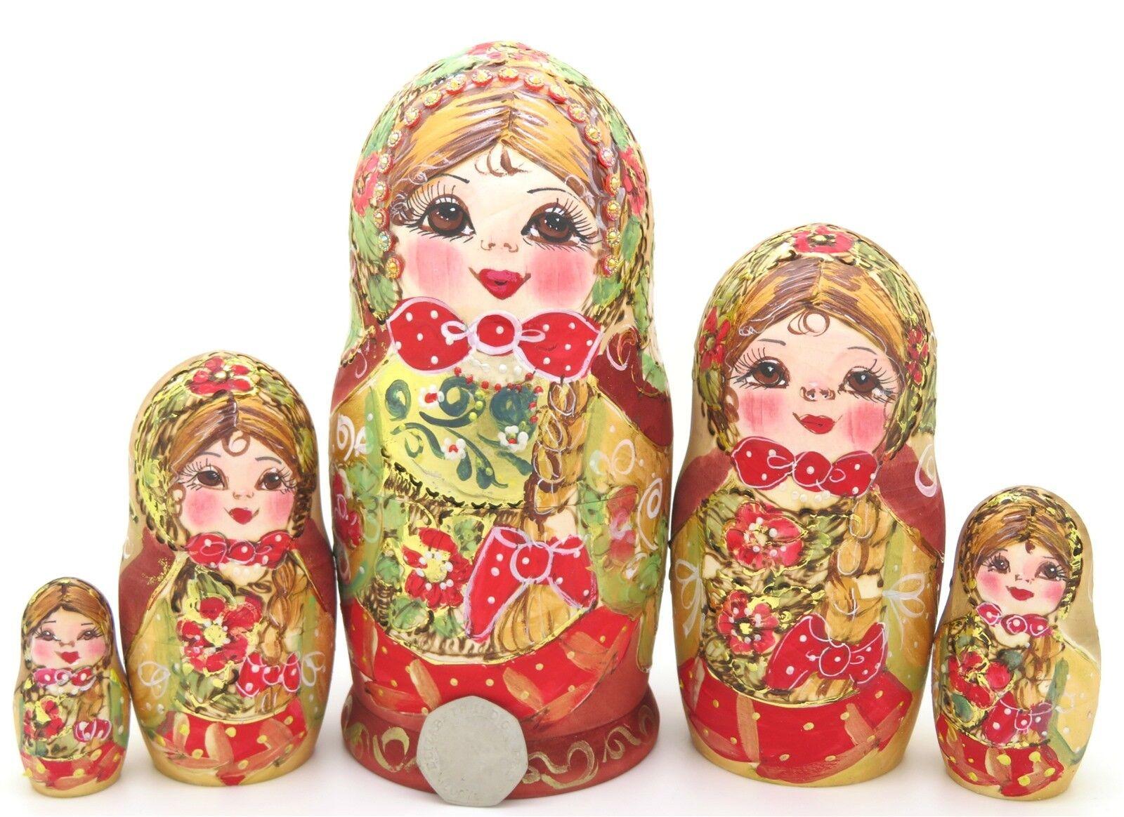 Matryoshka GOLD ROT Russian nesting dolls HAND PAINTED Pyrography Babushka 5