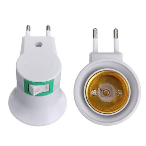 Button On-off Control E27 LED Socket To EU Plug Adapter Light Lamps Bulb Ho O2B1