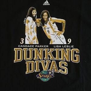 Candace-Parker-Lisa-Leslie-Dunking-Divas-T-Shirt-Sz-XL-Los-Angeles-Sparks-NWT