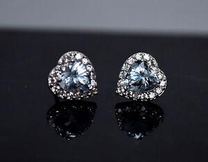 Image Is Loading 14k Solid White Gold Created Diamond Aquamarine Heart