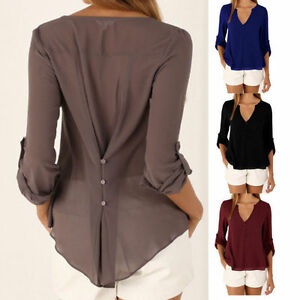 Summer-Womens-Ladies-Long-Sleeve-T-Shirt-V-Neck-Blouse-Chiffon-Shirt-Tops-S-5XL