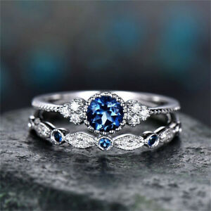 Classic-925-Silver-Round-Cut-White-Sapphire-Engagement-Ring-Bridal-Jewelry-Gifts