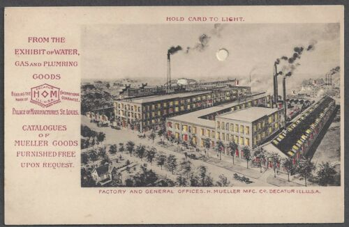 1904 ST LOUIS EXPO HOLDTOLIGHT, MUELLER CO EXHIBIT SOUVENIR, FACTORY VIEW