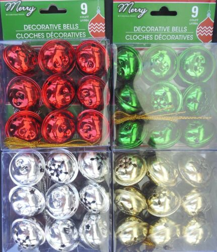 """CHRISTMAS JINGLE BELLS Red Green Gold Silver w Gold Loops 1.5/"""" 9//PK SELECT Bell"""