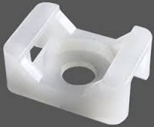 100 x 9MM WHITE CABLE TIES MOUNTS SADDLES BASES  HOLDER SADDLE WIRE