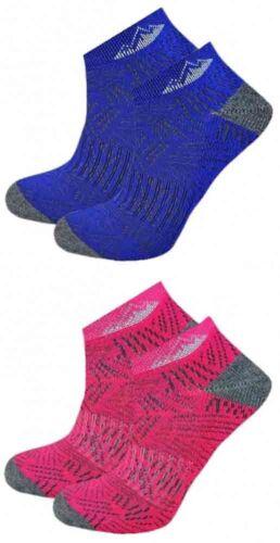 Dash Motif Bleu Rose 2 Paires Femmes ProHike Amorti Baskets Chaussettes Taille 4-8
